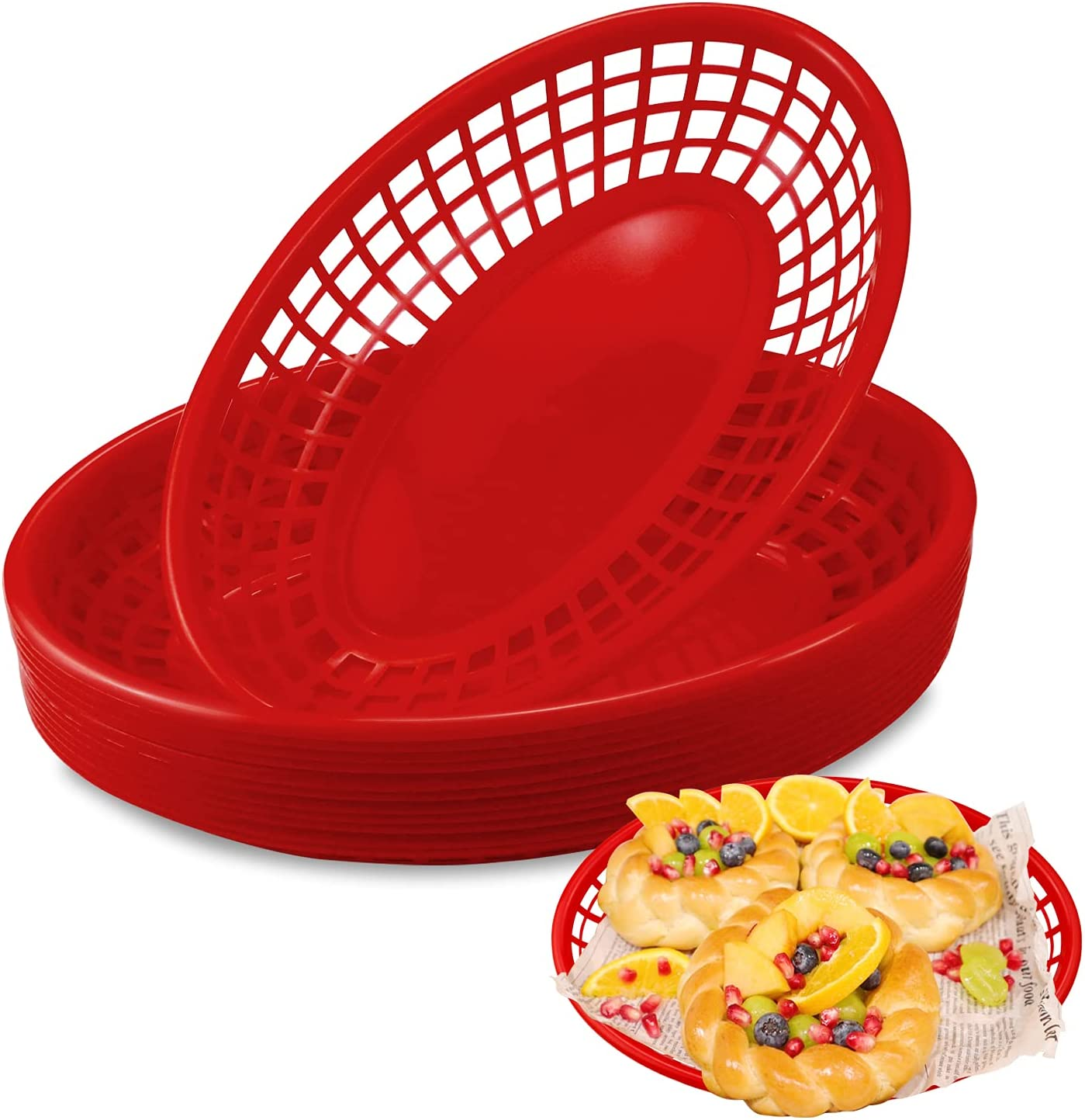 Hslife 12 Pack 9'' Red Bread Baskets, Fast Food Serving Baskets, Serving Tray for Fast Food Restaurant Supplies for Fried Chicken, Burgers, Sandwiches & Fries