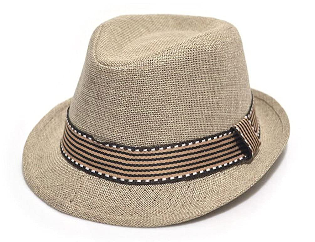 4e4a01ea52a16 Amazon.com  EachEver Toddler Kid Baby Girl Boy Fedora Hat Jazz Cap Cotton  Photography Trilby Top Cap Beige  Clothing