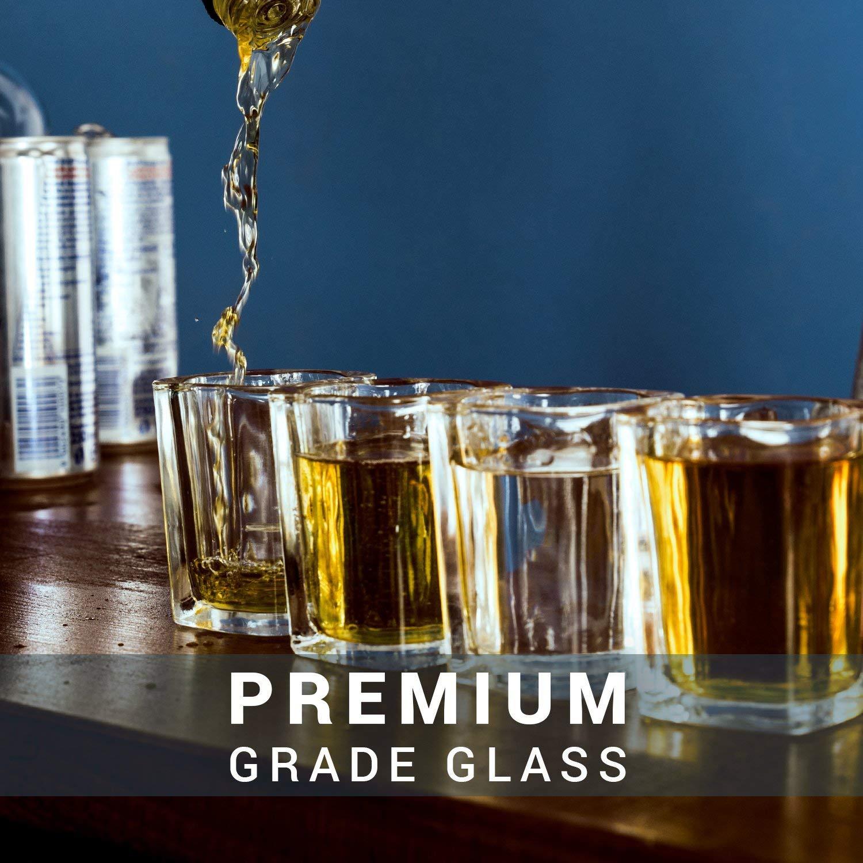 Chupitos Cuadrados de Vidrio Transparente (60ml) - 4 Vasos Cortos y ...