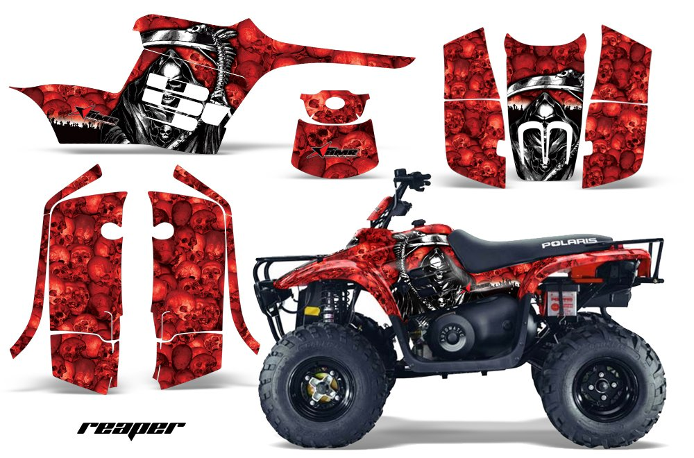 AMRRACING Polaris Trail Boss 330 2004-2009 Full Custom ATV Graphics Decal Kit - Reaper Red