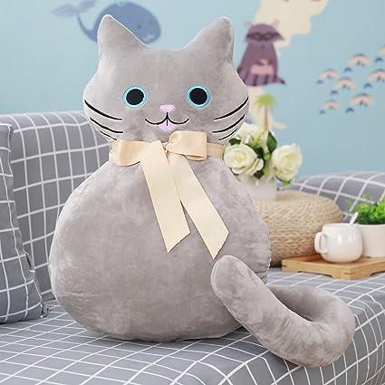 VERCART Juguete Peluche cojín Almohada para Cama sofá Silla Perro Decorativo Original Gato Gris, Gris