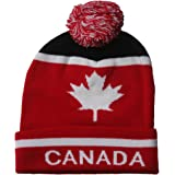 CANADA With White Maple Leaf Toque Hat With Pom Pom .. VIVA..New