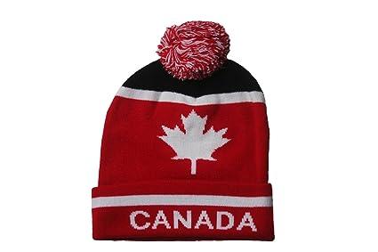Amazon.com  CANADA With White Maple Leaf Toque Hat With Pom Pom ... aa5281e83e66