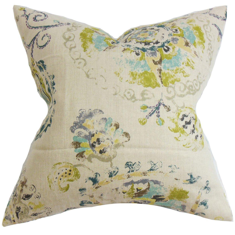 The枕コレクションp20-d-42355-turquoiseolive-l10 Riahフローラル枕、ターコイズ、20