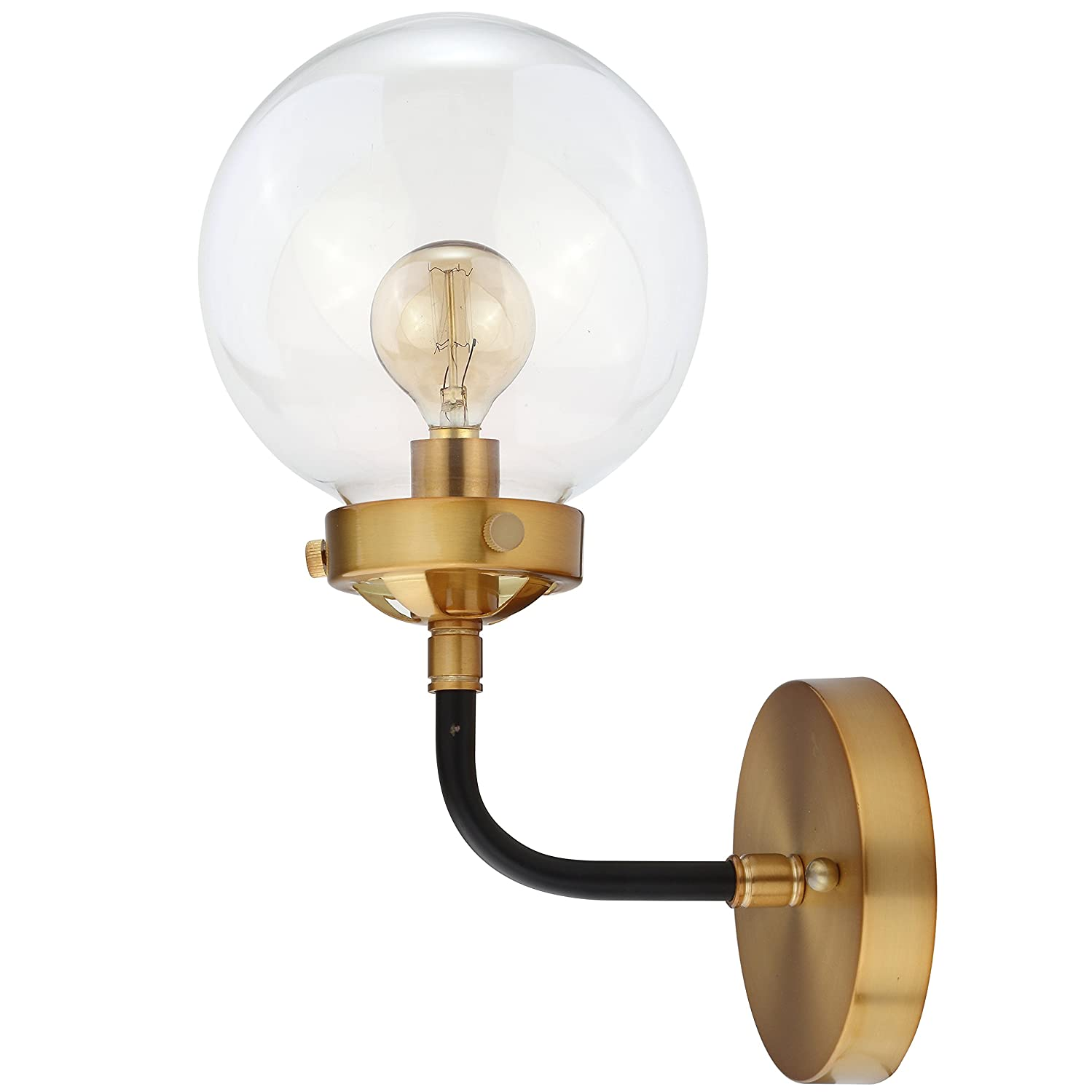 "Caleb 12"" 1-Light Brass Wall Sconce, Black/Brass by JONATHAN Y"