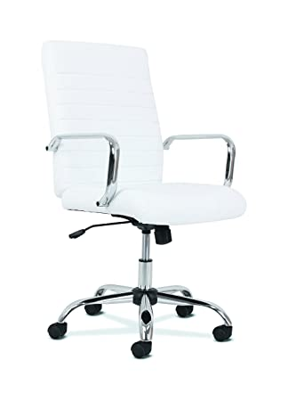 white leather computer chair. Sadie Executive Computer Chair- Fixed Arm For Office Desk, White Leather With Chrome Accents Chair L