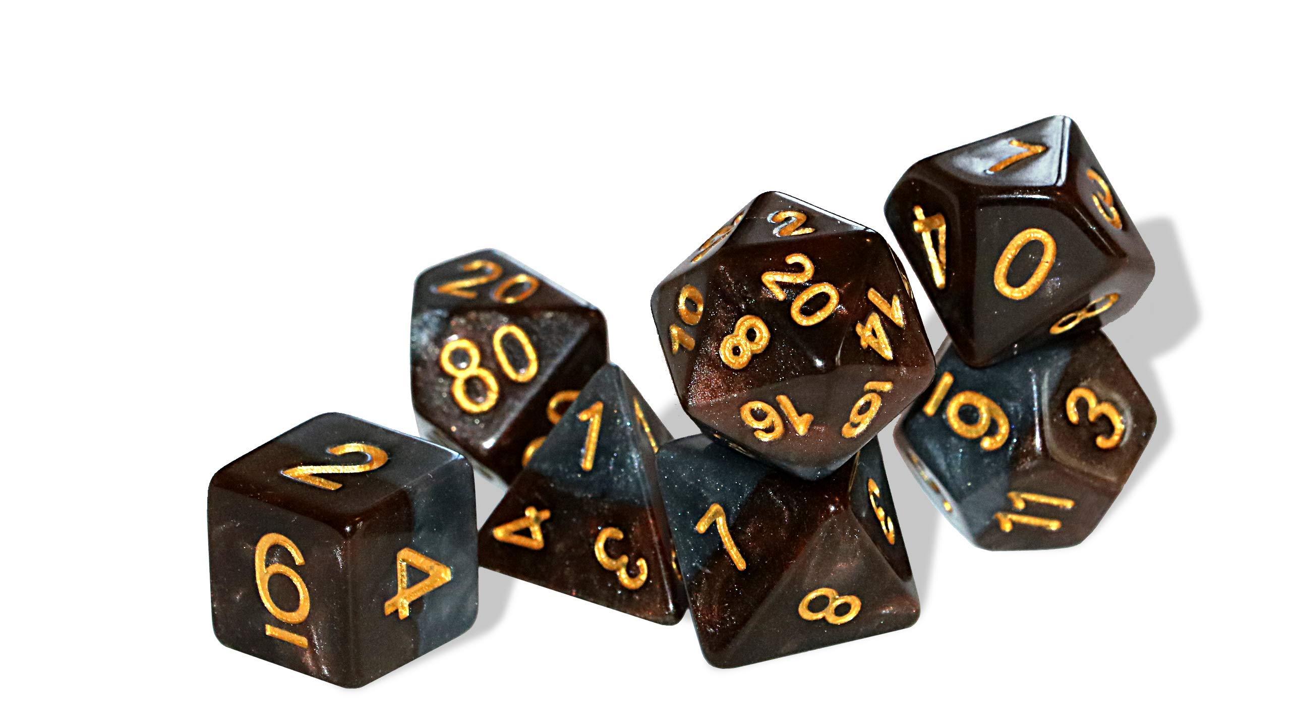 Gate Keeper Games Halfsies Dice Dwarf 7 Dice Polyhedral Set