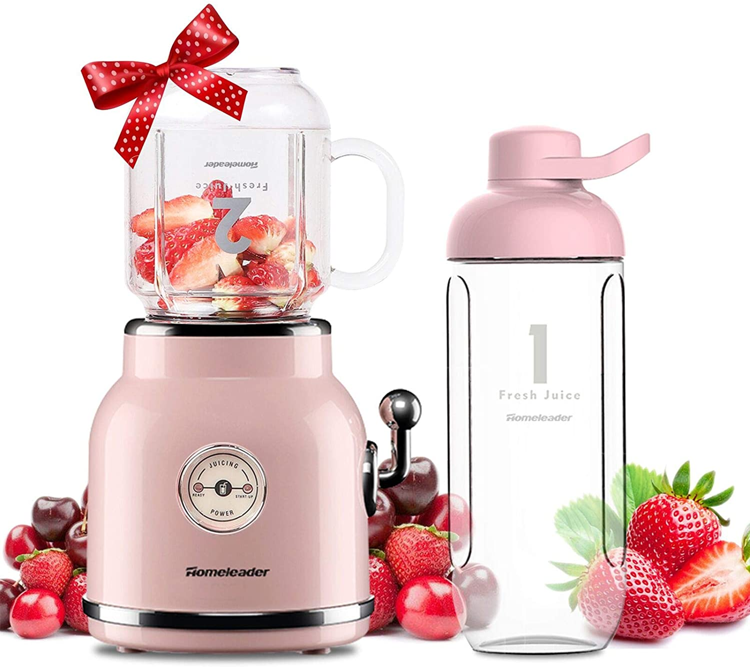 Smoothie Blender, Homeleader Personal Blender for Shakes and Smoothies, Portable Blender with 6 Sharp Blades, 21oz Travel Cup and Lids, Pink