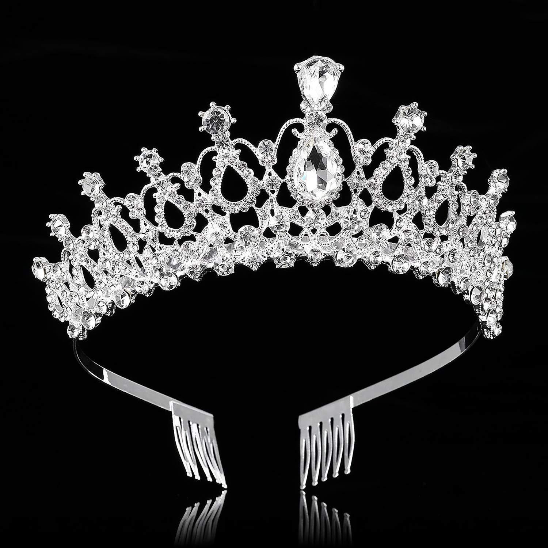 argent Couronne de diad/èmes avec peigne Mariage Couronne en cristal strass pour la mari/ée Fille Femmes Princesse D/écoration /à lanniversaire F/ête Bal de promo