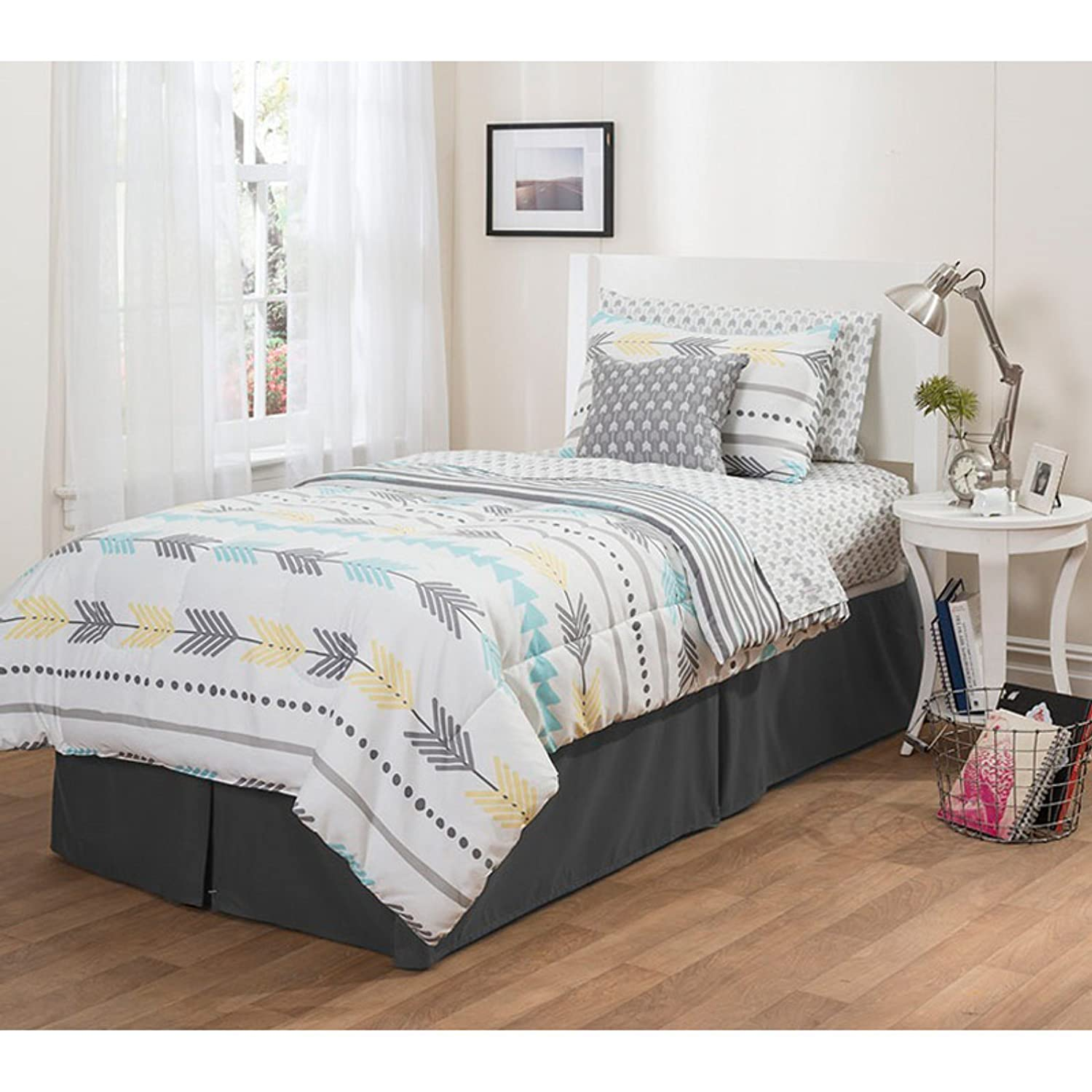 8 Piece Kids Blue Arrow Comforter Queen Set, White Graphical Symbol Bedding Geometric Novelty Themed Bed In Bag Polka Dot Stripe Indicate Direction Native American Style Peruvian Vintage, Polyester