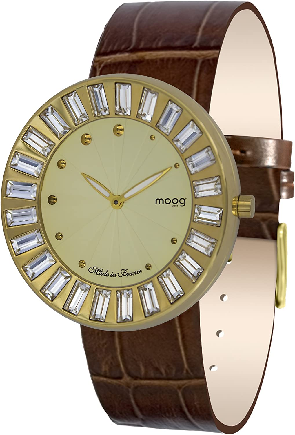 Moog Paris Sunshine Women s Watch with Champagne White Silver Black Dial, Interchangable White Brown Silver Black Strap in Genuine Leather