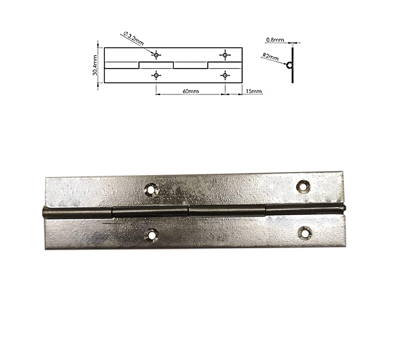 120mm longue m/étal charni/ère piano galvanis/é couleur