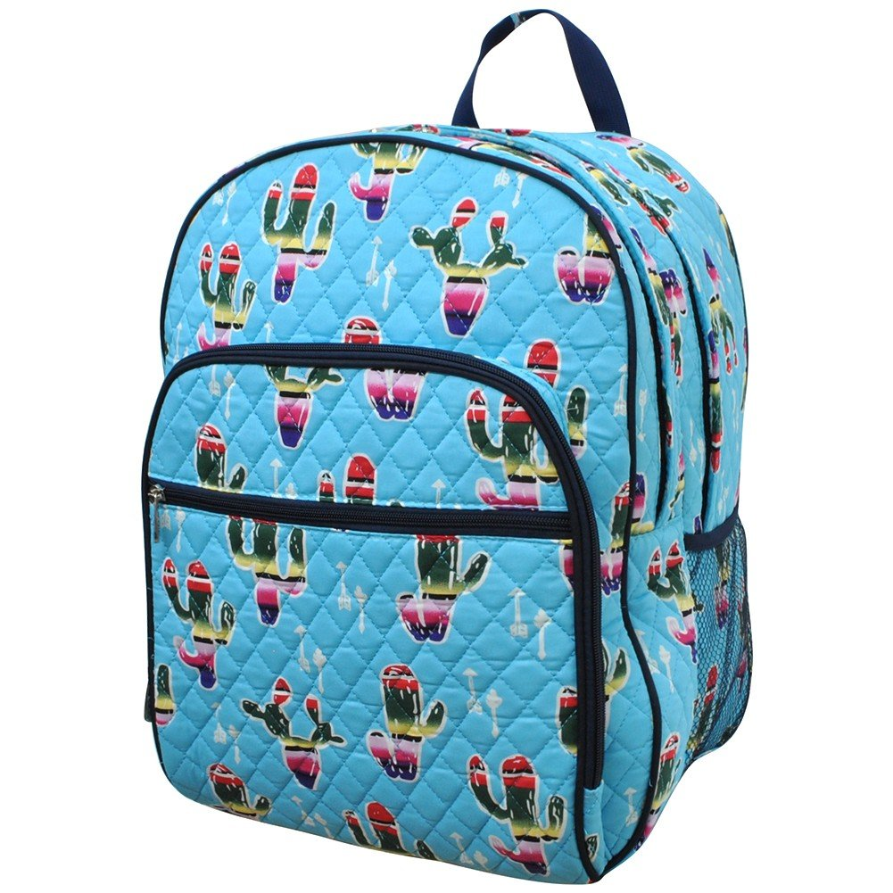 American Sarape Cactus Print NGIL Quilted Large School Backpack