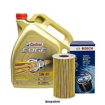 Set 5L de aceite Castrol 5 W de 40 + Bosch de aceite: Amazon.es: Coche y moto