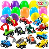 "JOYIN 12 Pcs Filled Easter Eggs with Toy Cars, 3.2"" Bright Colorful Easter Eggs Prefilled with Pull Back Construction Vehicles and Race Cars"