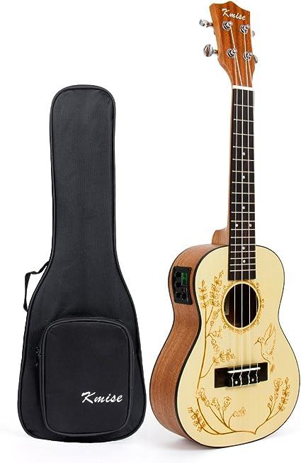 Kmise Guitarra de ukelele de concierto electro-acústica de 23 ...