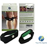 Runner's Knee Patella Tendon Knee Strap Support (2-PER PACK) - also for Jumpers Knee & Osgood Schlatter - Medical Grade - EVA pad, Unisex, One Size Fits all - Black - by Tour Pro Sports