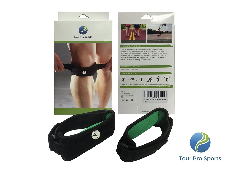 Tour Pro deportes grado médico Rótula Rodilla correa apoyo (2 Pack) - corredores y Jumpers rodilla & Osgood Schlatter - Eva pad, unisex, talla única, ...