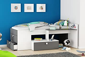 Amazon.de: Funktionsbett 90*200 cm weiß / grau inkl Schreibtisch + ...