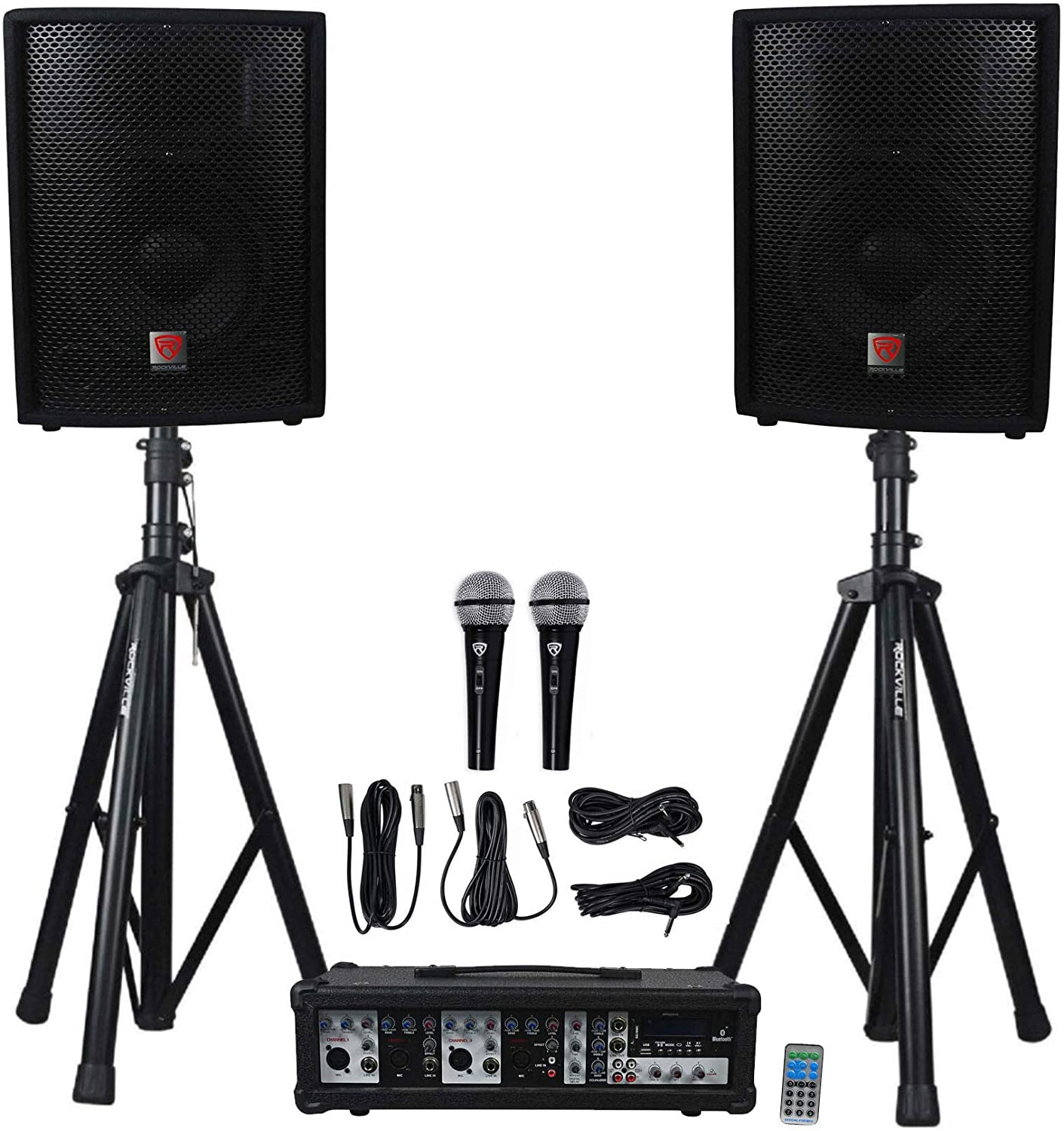 "Rockville Package PA System Mixer/Amp+10"" Speakers+Stands+Mics+Bluetooth"