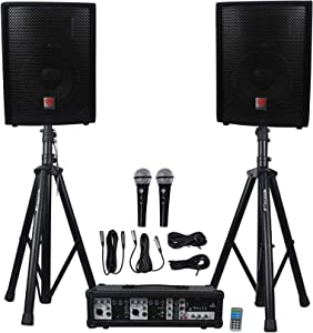 """Rockville Package PA System Mixer/Amp+10"""" Speakers+Stands+Mics+Bluetooth, (RPG2X10)"""