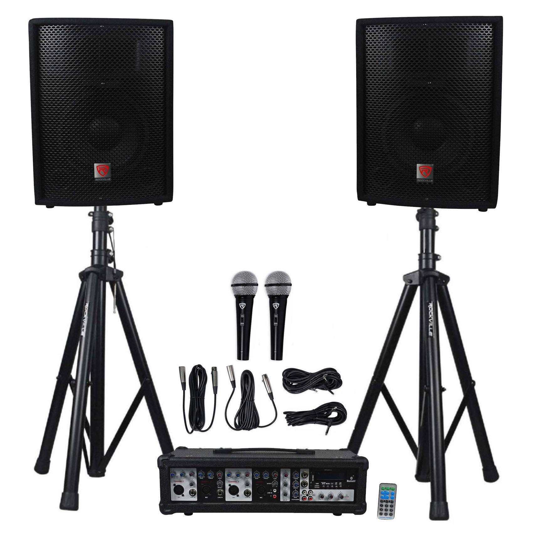 Rockville Package PA System Mixer/Amp+10'' Speakers+Stands+Mics+Bluetooth (RPG2X10 v2) by Rockville
