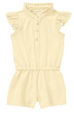 440064eab Ralph Lauren Baby Girl Flutter-Sleeve Mesh Romper (9 Months, Wicket Yellow)
