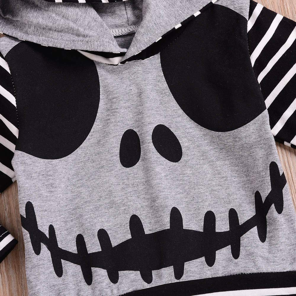 Memela Baby Clothes,Newborn Infant Baby Boy Skull Striped Tops Hoodie Pants Halloween Outfits Set