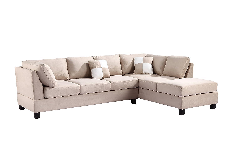 Amazon.com: Glory Furniture G631 SC Sectional Sofa, Beige, 2 Boxes: Kitchen  U0026 Dining