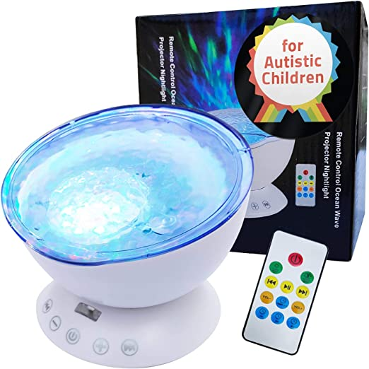 Autism Toys Kids Calming Ocean Wave Projector for Autistic Children - Music - AUX – for ASD Boys Girls Sleep Bedroom Room Decor - Visual Auditory Sensory Stimulation LED Night Light Water Lamp