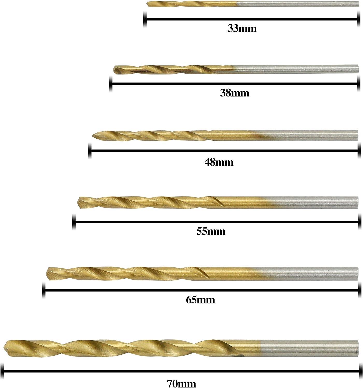 sycees 60pcs M/èche Micro HSS Sets de 1//1,5//2//2,5//3//3,5/mm titanium spirale HSS Foret Outils