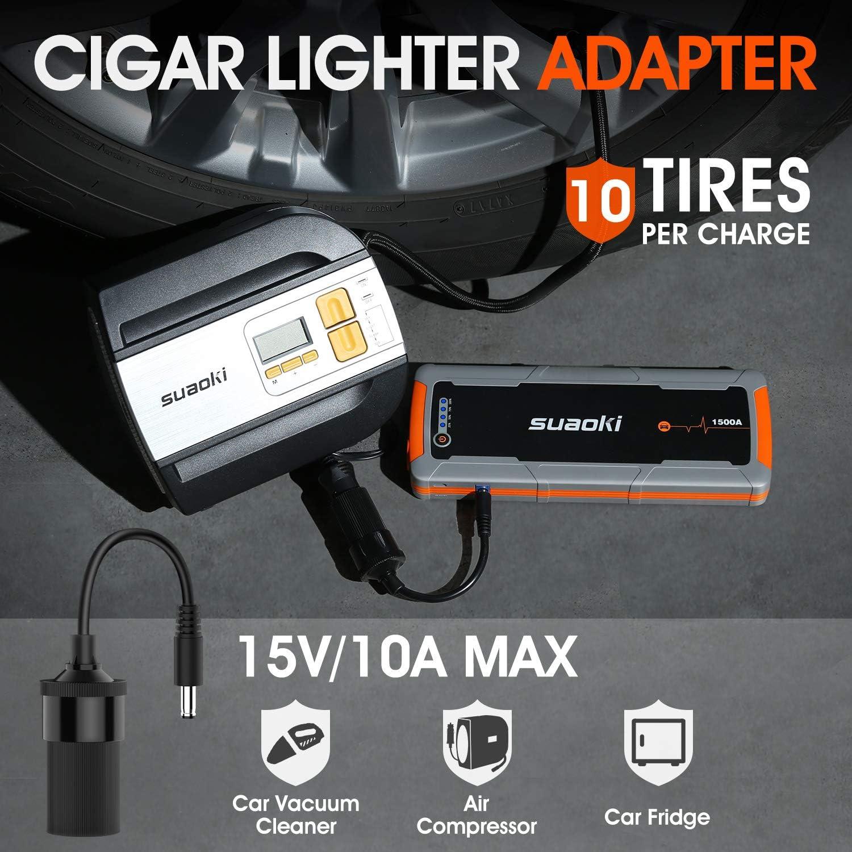 SUAOKI E15 Booster Batterie 1500A Adaptateur Secteur D/émarreur de Voiture avec Prise Allume-Cigare DC Port DC et QC 3.0 20000mAh D/émarreur pour Tous Les Moteurs /à Essence 12V et 6.5L Diesel