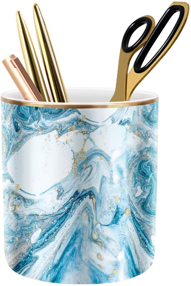 WAVEYU Pen Pencil Holder for Desk, Marble Desk Decor Organizer, Durable Ceramic Pencil Cup Holder Marble Design Makeup Cups for Brushes Ideal Gift for Office, Classroom, Blue
