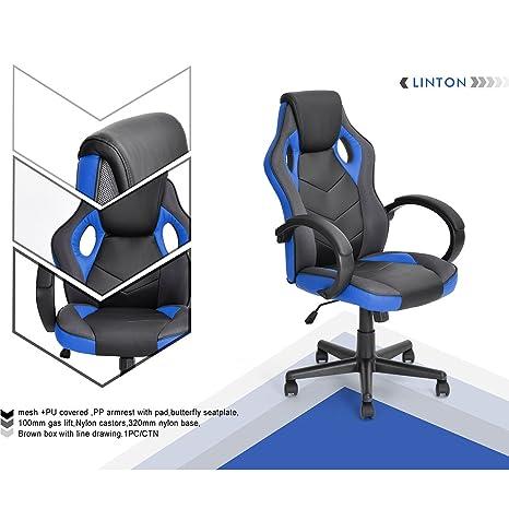 n.b.f fateuil de escritorio Gaming deporte asiento Racing para ordenador PU piel sintética azul negro