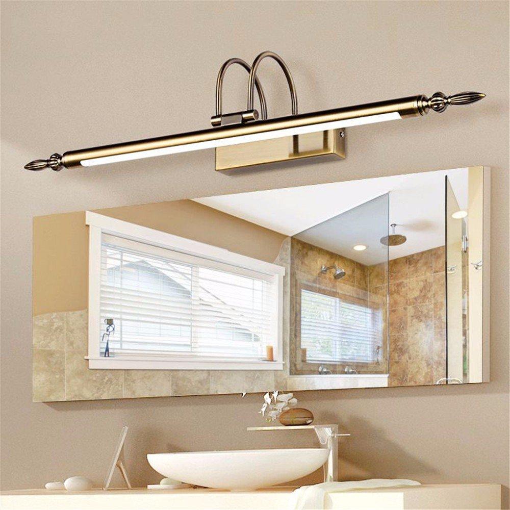 LED-Spiegellampe Licht retro europäische Bad Toilette Spiegelschrank Spiegellampe wasserdichte Kosmetikspiegel LED-Lampe, 12W warmweiß (Farbe matt nickel 66cm) [Energieklasse A++] Mirror Front Lampe Funuan
