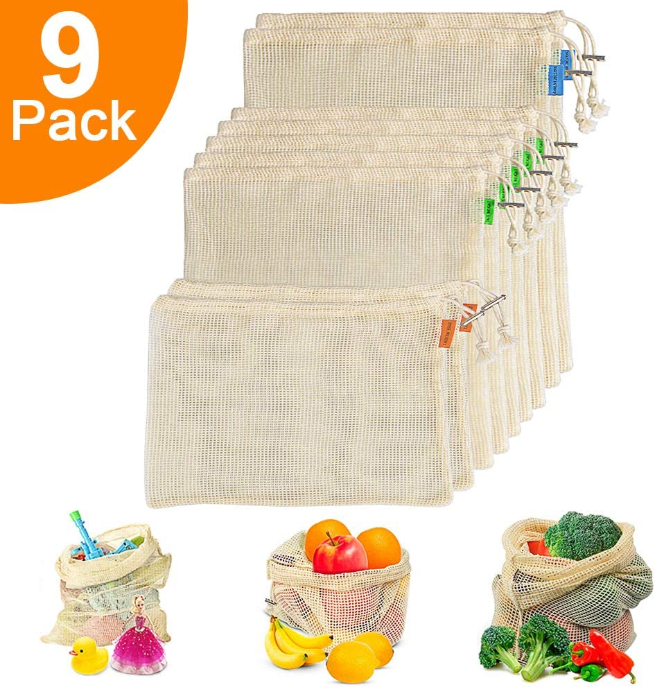 Reusable Cotton Mesh Produce Bags - Biodegradable Organic Cotton Vegetable Bags Double Stitched Seams with Drawstrings and Tare Weights, Machine Washable - Perfect for Vegetable, Fruits, Toys