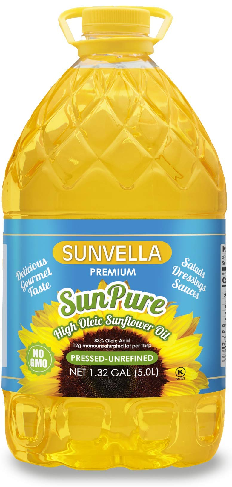 SUNVELLA SunPure Non-GMO High Oleic Sunflower Oil, Pressed-Unrefined 1.32 GAL (5.0L) by SUNVELLA