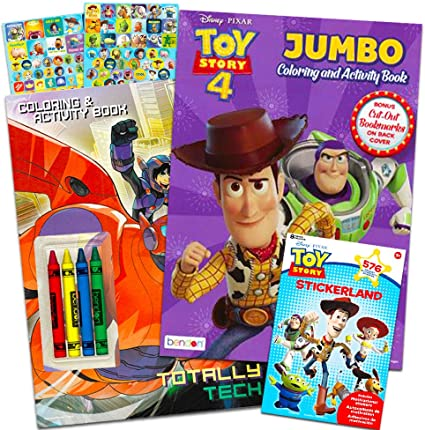 Amazon Com Disney Pixar Toy Story Coloring And Activity Book Bundle With Crayons And Over 550 Toy Story Stickers Toy Story Party Supplies Toys Games