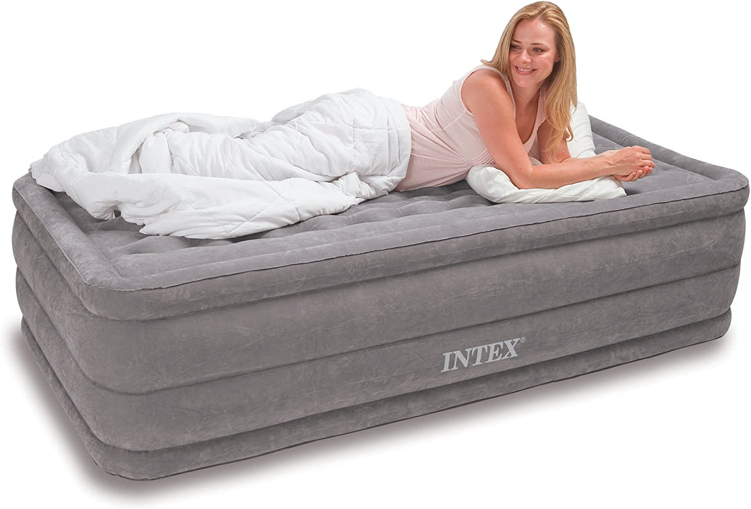 Intex Ultra Plush Airbed with Built-in Electric Pump, Twin, Bed Height 18