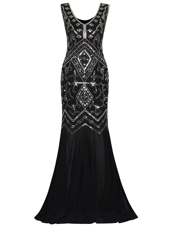 Vijiv Women 1920s Evening Gown Flapper Style 20s Art Deco Long ...
