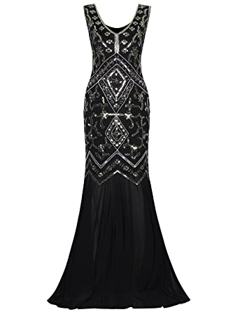 Vijiv Women Evening Gown 1920 Dresses Gatsby Beaded Sequins Art Deco Long Formal Dress
