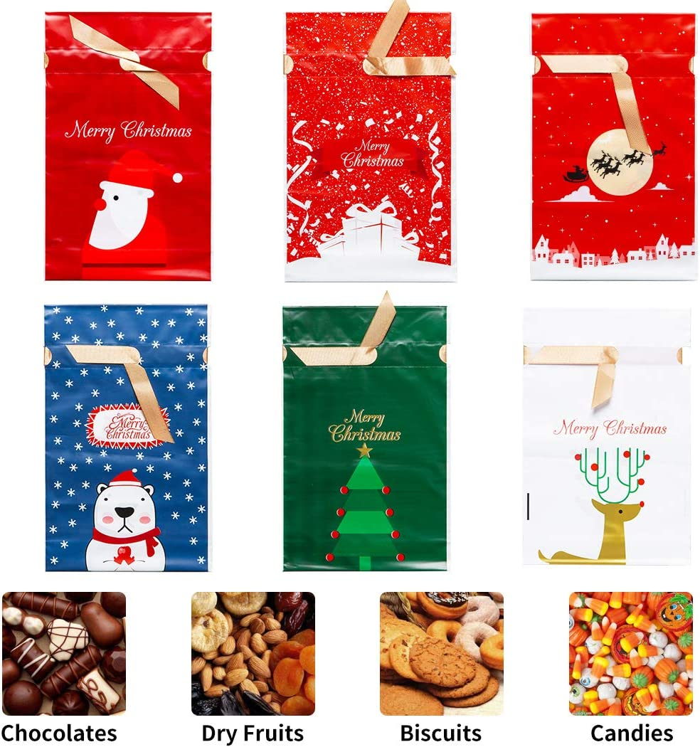 Drawstring Christmas Candy Bags for Kids Trick or Treat Bags Plastic Goody Bags Christmas Party Favors 60 PCS Christmas Treat Bags