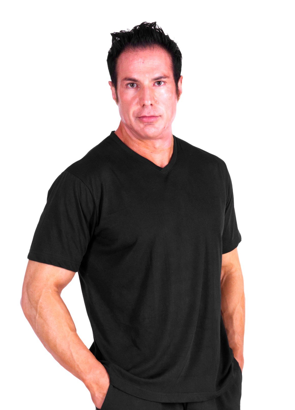 Cool-jams Wicking Men's V-Neck Pajama Top for Travel & Warm Nights (Large, Black)