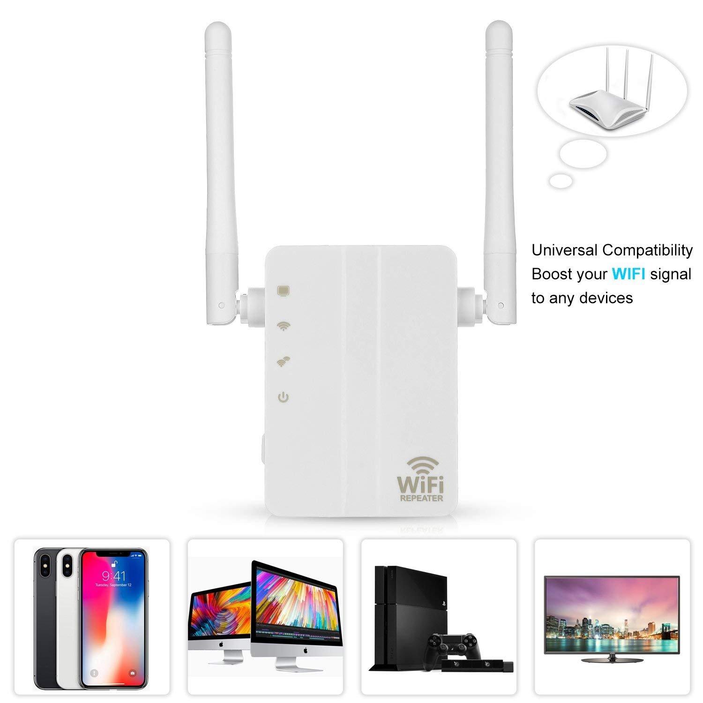 PowerLead WiFi Range Extender, 300Mbps Fast Speed WiFi Booster repetidor inalámbrico con Alta Ganancia Antenas externas duales y 360 Grados WiFi Cobertura: ...