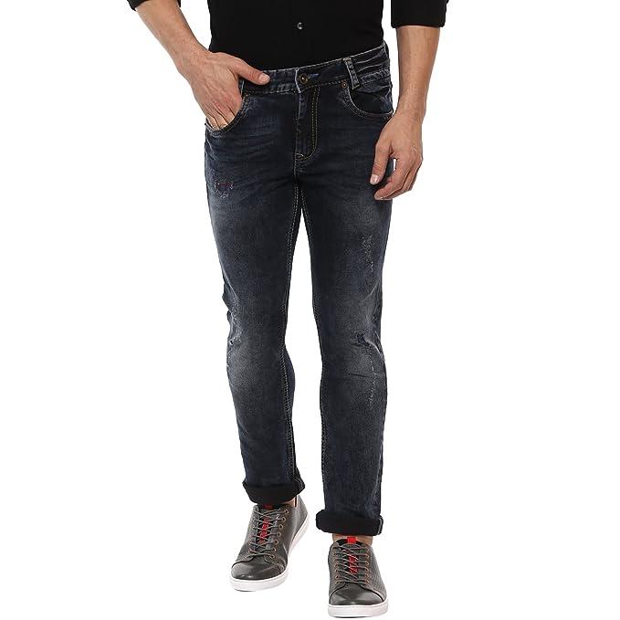 0995076c6a1 Mufti Black Stone Super Slim Distress Jeans  Amazon.in  Clothing ...