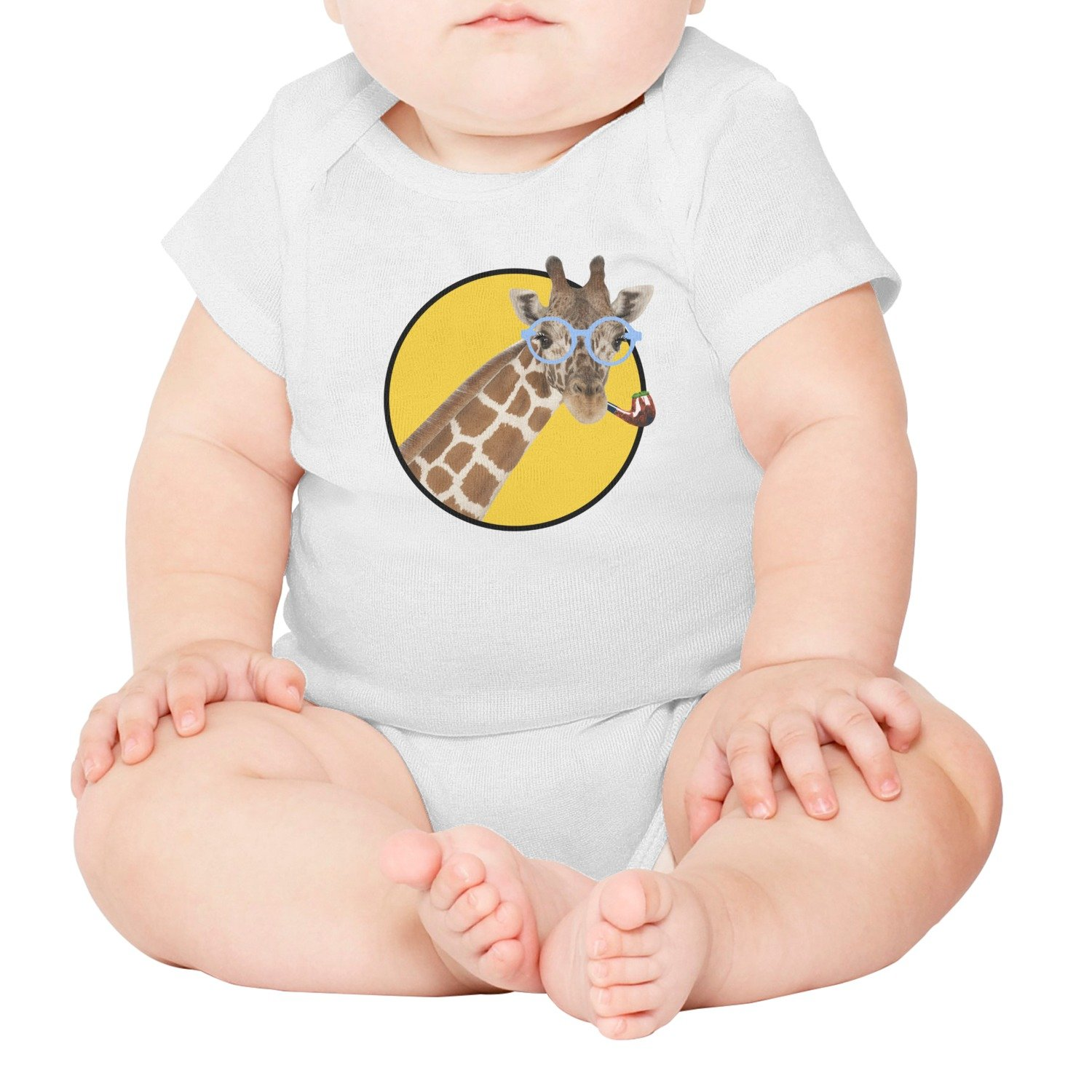 FanYe Funny Giraffe with Glasses What's Up Unisex Infant Baby Onesie Bodysuit Clothes