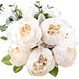 Leagel Fake Flowers Vintage Artificial Peony Silk Flowers Bouquet Wedding Home Decoration, Pack of 1 (Spring White)