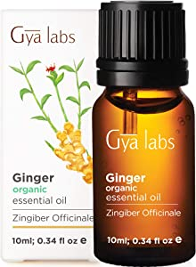 Gya Labs Organic Ginger Essential Oil for Lymphatic Drainage Massage, Swelling and Pain Relief - Great for Hair Growth and Nausea Relief - Pure Therapeutic Grade for Topical and Aromatherapy - 10ml