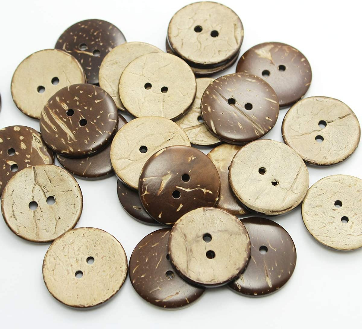 20 50 pcs Coconut Shell 2 Holes Round Buttons Sewing Scrapbooking Craft 30mm Día