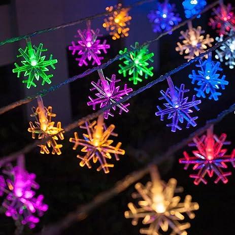 Amazon christmas snowflake string lights 17ft 50leds battery christmas snowflake string lights 17ft 50leds battery powered fairy string lights waterproof outdoorindoor diy aloadofball Gallery